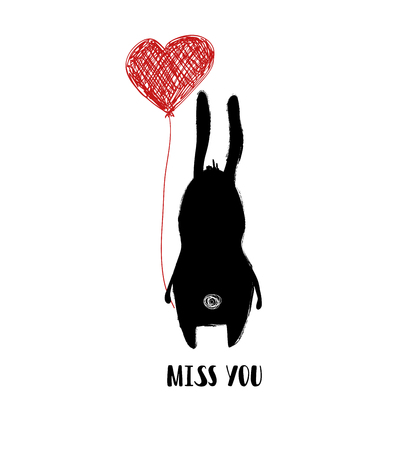 Rabbit holding a red heart balloon. Poster or love greeting card with phrase - miss you.