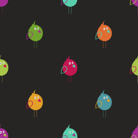 Seamless pattern with cute colorful birds. Funny background for nursery or any textile surface. Illustration