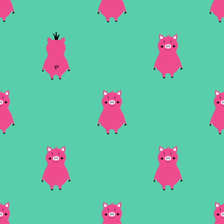Bright seamless pattern with cute pink pigs. Funny background for nursery or any textile surface.