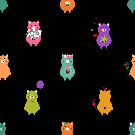 Seamless pattern with colorful piglets. Funny background for nursery or any textile surface.