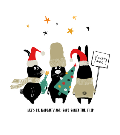 Christmas and New Year greeting card with phrase - lets be naughty and save Santa the trip. Funny group of rabbits.