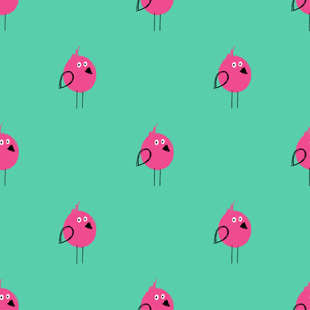 Bright seamless pattern with cute birds. Funny background for nursery or any textile surface.