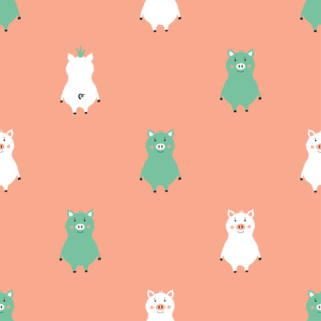 Seamless pattern with cute pigs. Funny background for nursery or any textile surface.