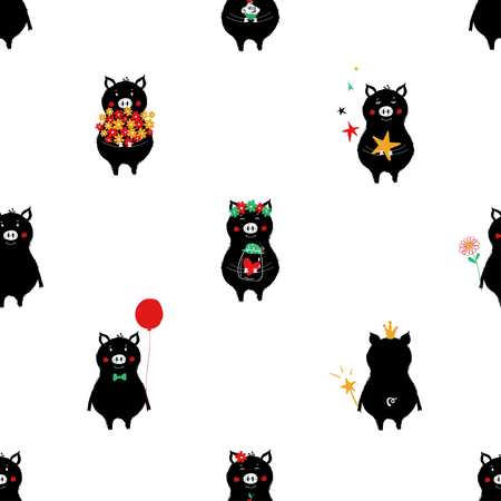Seamless pattern with black pigs. Funny background for nursery or any textile surface.