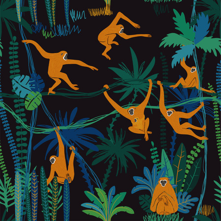 Colorful wildlife animals print. Seamless pattern with funny gibbon monkey in wild jungle forest. Vectores