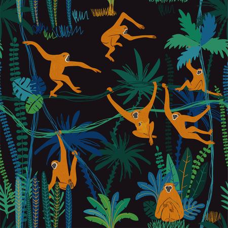 Imprimé animalier coloré. Modèle sans couture avec singe gibbon drôle dans la forêt de la jungle sauvage.