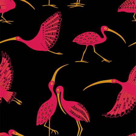 Wildlife birds print. Seamless pattern with folk art ornate ibis on a black background.