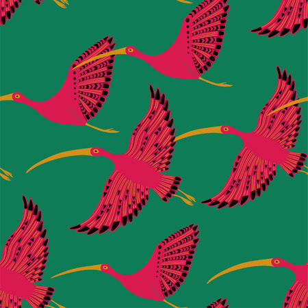 Colorful wildlife birds print. Seamless pattern with flying pink ibis on a green background.