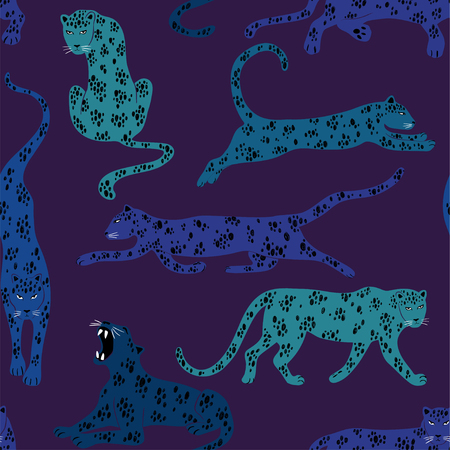 Colorful wildlife animals print. Seamless pattern with leopard on a purple background. 向量圖像