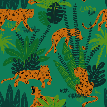 Colorful wildlife animals print. Seamless pattern with yellow leopard in wild jungle forest. Illustration