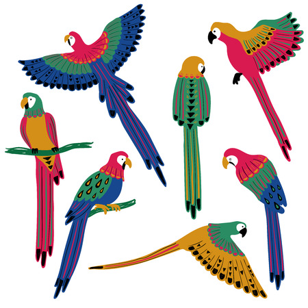 Wild set of colorful avian. Isolated tropical parrot birds icons with folk art pattern. Ilustração