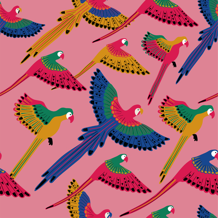 Colorful wildlife birds print. Seamless pattern with flying parrots on a pink background. Ilustração