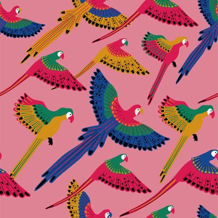 Imprimé d'oiseaux sauvages colorés. Modèle sans couture avec des perroquets volants sur fond rose.