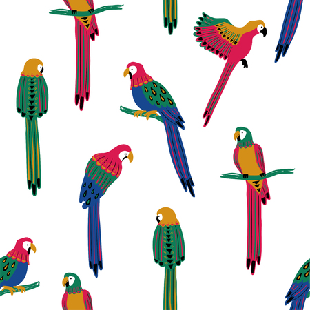 Wildlife birds print. Seamless pattern with colorful parrots on a white background.