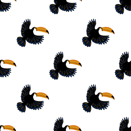 Wildlife birds print. Seamless pattern with flying toucan on a white background.