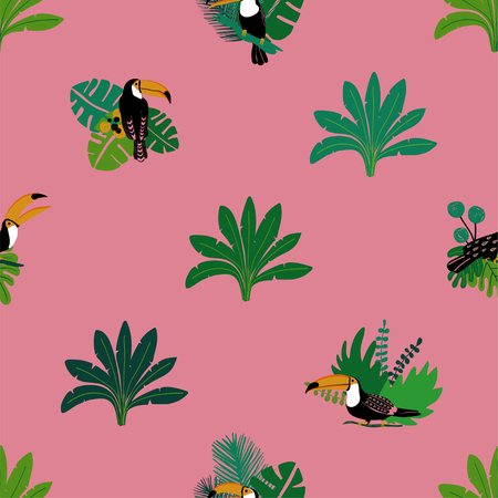 Sommerwildvögel drucken. Nahtloses Muster mit Tukan- und Dschungelpflanzen.