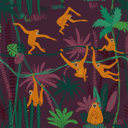 Stampa di animali selvatici colorati. Modello senza cuciture con la scimmia gibbone gialla divertente nella foresta selvaggia della giungla. Vettoriali