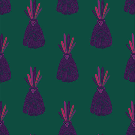 Animals print. Seamless pattern with funny purple gibbon monkey silhouette on a green background. Illustration