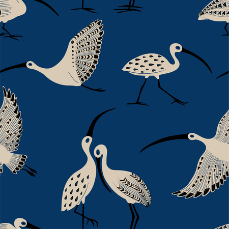 Wildlife birds print. Seamless pattern with folk art ornate ibis on a blue background.