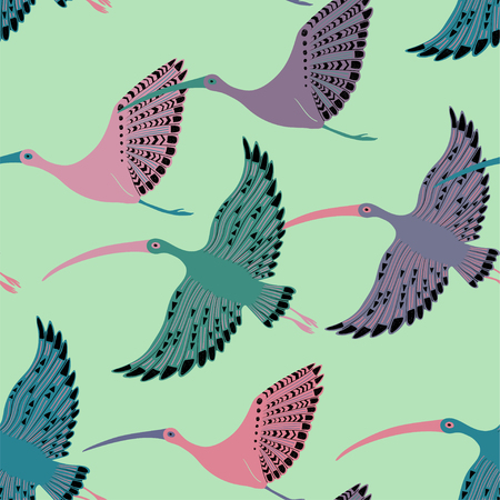 Colorful wildlife birds print. Seamless pattern with flying ibis.
