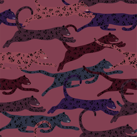 Colorful wildlife animals print. Seamless pattern with group of running leopard on a dark pink background.