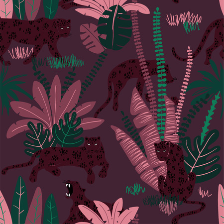 Colorful wildlife animals print. Seamless pattern with leopard in wild jungle forest. 向量圖像