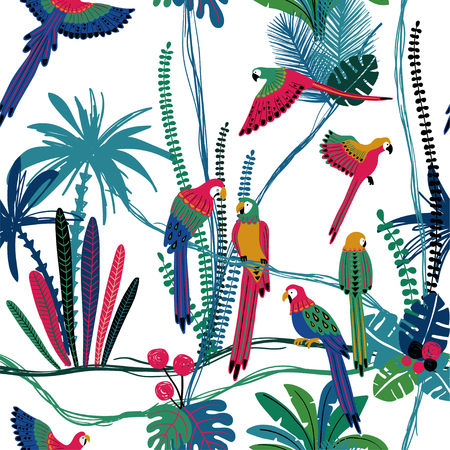 Summer colorful wildlife birds print. Seamless pattern with parrots in a wild jungle.