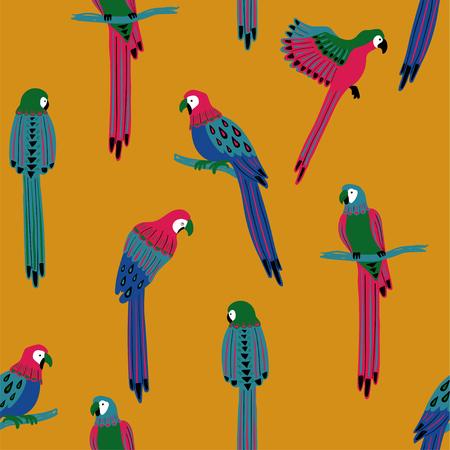 Wildvögel drucken. Nahtloses Muster mit bunten Papageien auf gelbem Hintergrund.