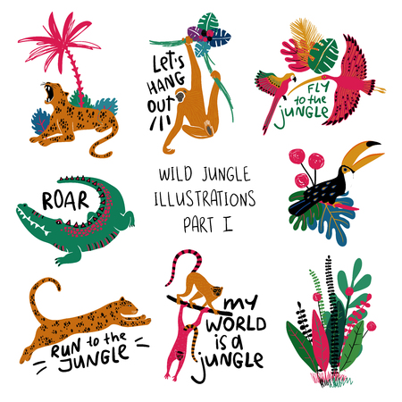 Summer set of colorful design compositions with wild animals, birds and plants. Leopard, crocodile, lemur, monkey, toucan, parrot and ibis illustrations.  Illustration