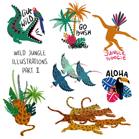 Summer set of colorful design compositions with wild animals, birds and plants. Leopard, crocodile, monkey, toucan, parrot and ibis illustrations.  Illustration