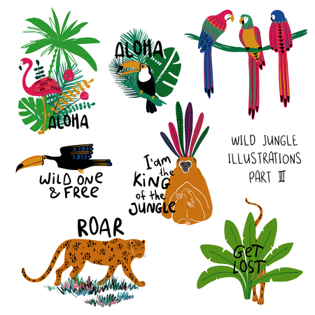 Summer set of colorful design compositions with wild animals, birds and plants. Leopard, monkey, toucan, parrot and flamingo illustrations.
