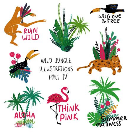 Summer set of colorful design compositions with wild animals, birds and plants. Leopard, monkey, toucan and flamingo illustrations.