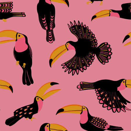 Summer wildlife birds print. Seamless pattern with funny toucans on a white background.