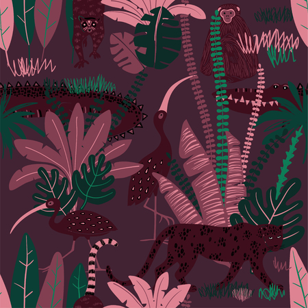 Colorful wildlife animals print. Seamless pattern with monkey, leopard, lemur, crocodile and ibis in wild jungle forest.