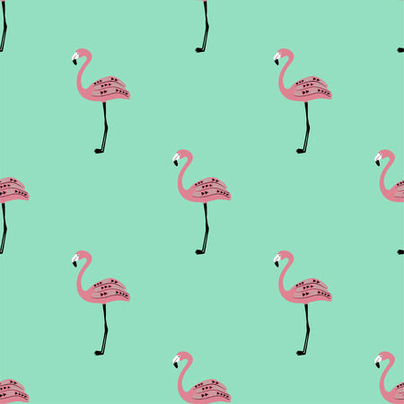 Elegant wildlife birds print. Seamless pattern with ornate pink flamingo on a blue background. 矢量图像