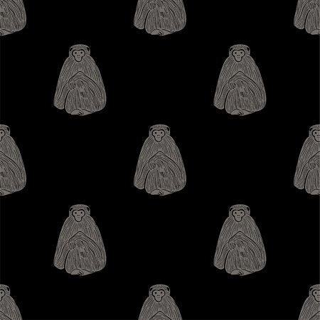 Animals print. Seamless pattern with funny gray gibbon monkey silhouette on a black background.