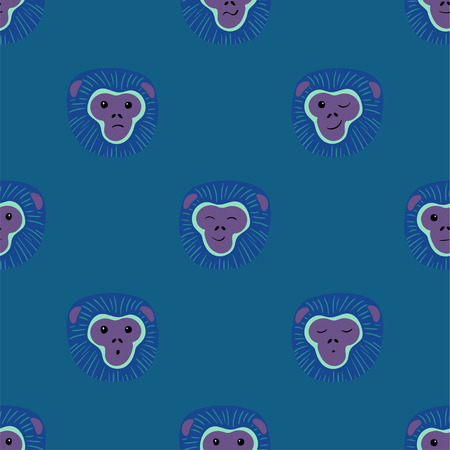 Animals print. Seamless pattern with funny faces of gibbon monkey on a blue background.