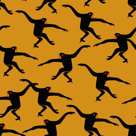 Animals print. Seamless pattern with funny gibbon monkey silhouette on an yellow background.