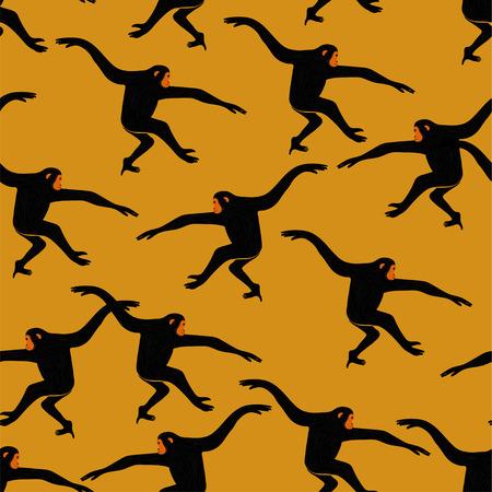 Tiere drucken. Nahtloses Muster mit lustiger Gibbonaffe-Silhouette auf gelbem Hintergrund. Vektorgrafik