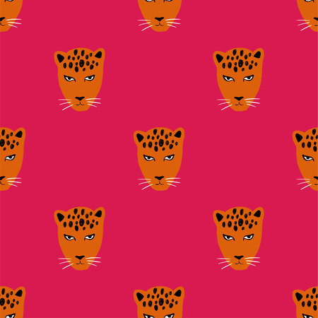 Colorful wildlife animals print. Seamless pattern with funny face of leopard.