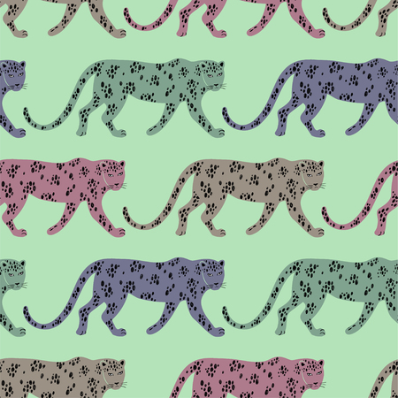 Colorful wildlife animals print. Seamless pattern with walking leopard.