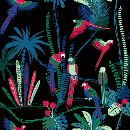 Colorful wildlife birds print. Seamless pattern with parrots in a wild jungle.