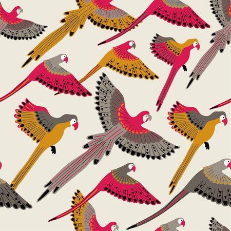 Colorful wildlife birds print. Seamless pattern with flying parrots on a white background.