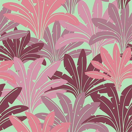 Jungle seamless pattern with colorful tropical palm plants. Abstract wild nature background.