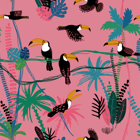 Summer colorful wildlife birds print. Seamless pattern with toucan in a wild jungle. Illustration