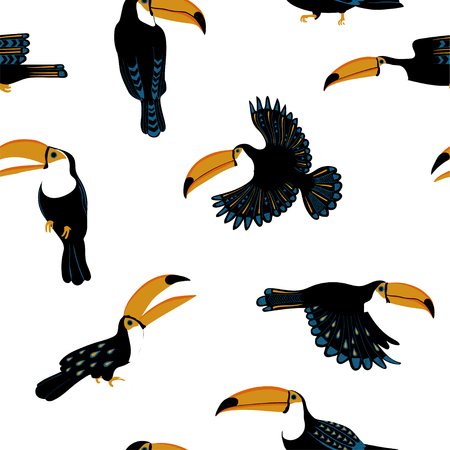 Wildlife birds print. Seamless pattern with funny toucans on a white background.