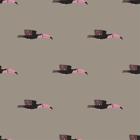 Wildlife birds print. Seamless pattern with flying toucan on a gray background. Illustration