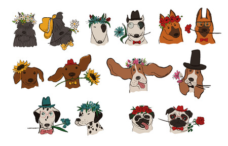 Collection of isolated dog portraits with floral wreath and holding flowers. Funny hipster dog couples for wedding invitations, t-shirt design, greeting cards, stickers or posters.
