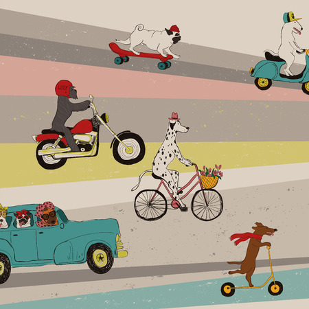 Funny background with cute dogs driving car, riding bike, scooter, motorcycle and skateboard. Illustration