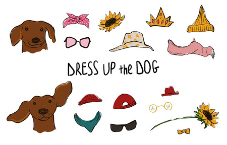 Drees up the dog collection. Funny hipster Dachshund couple portraits with accessories. 向量圖像